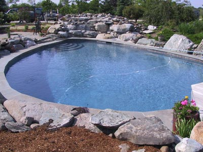 pool with rocky waterfall